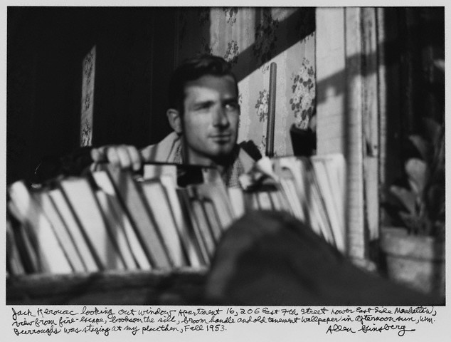 1953, Lower East Side, Manhattan, New York, New York, USA  Jack Kerouac looking out apartment window in New York City
